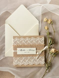 #4 ($360) Custom listing (100) Rustic Wedding Invitation, Burlap  Lace Wedding Invitations, Poketfold  Wedding Invitation, 4lovepolkadots
