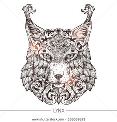 Ornamental Tattoo Lynx Head. Highly Detailed Abstract Hand Drawn Style - stock vector
