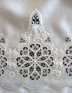This is so exquisite...wow! Cutwork embroidery sample. Udklips hedebo