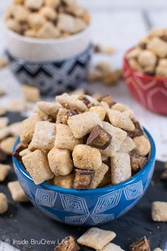 Peanut butter and s'mores add a fun twist to this easy muddy buddies snack mix!