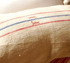 Vintage grain sacks make beautifully textured pillow covers