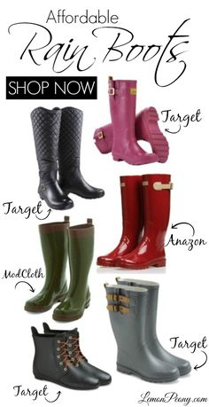 Cheap Rain Boots from Target, Amazon, and ModCloth! Love these Fashion Boots for Fall!