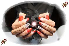 Unhas em Gel cor red/gliters com matte e nail art desenhado á mão!