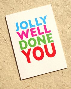 Funny congratulation card, well done you, jolly well done, exam card set, congratulations greeting notecard pack, graduation or driving test