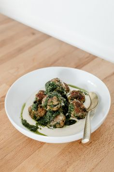 Turkey Spinach Meatballs with Tahini and Chimichurri — molly yeh Turkey Spinach Meatballs, Turkey Sausage, Sausage Meatballs, Whole Food Recipes, Cooking Recipes, Vegan Recipes, Dinner Recipes, How To Cook Meatballs, Cooking Meatballs