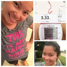 """What a run! I'm so glad I'm back you guys. I have been a runner since I was 14 and when doc said no running or intense workouts because of fertility treatments really did bummed me out but I'm not complaining cause it'll all be worth it. A year and later and I'm ready for some running and intense workouts. Ran 3.33 miles (not really focused on my time just yet) and now I'm about to do my @heandsheeatclean HIIT workout  Oh and I love my shirt. It says """"This is my happy hour #iworkout """" Did…"""