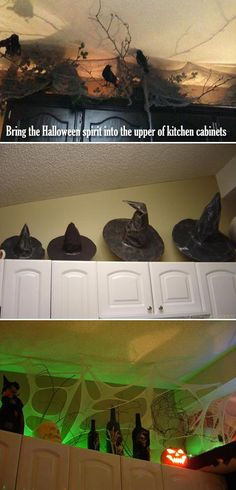 Cool Ideas to Decorate a Spooky Halloween Kitchen Bring the Halloween spirit into the upper of kitchen cabinets.Bring the Halloween spirit into the upper of kitchen cabinets. Halloween 2018, Casa Halloween, Halloween Party Decor, Spirit Halloween, Holidays Halloween, Halloween Crafts, Dollar Store Halloween, Indoor Halloween Decorations, Halloween Decorating Ideas
