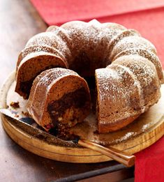 The chocolate and sweet potato batters are swirled together in a fluted tube pan to make this moist, tender spice cake. Serve it for dessert or as a breakfast coffee cake.