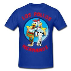 Ask for Gus. The chicken franchise Los Pollos Hermanos from Breaking Bad. This men's t-shirt has a relaxed but tailored fit. The seamless rib collar with double-needle cover-stitching, shoulder to shoulder taping, double-needle sleeve and bottom hem make it a durable wear. Made from 100% pre-shrunk cotton with a fabric weight of 6.1 oz. Ash is made of 90% cotton/10% polyester and heather grey is made from 99% cotton/1% polyester...