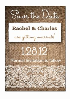 Burlap and Lace Rustic Wedding Save the Dates or Invitations-- DIY Digital File or Postcard. $20.00, via Etsy.