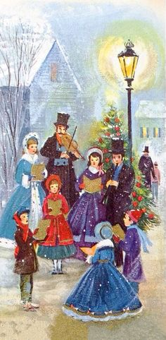 Old Christmas Post Сards — Carolers (626×1280)