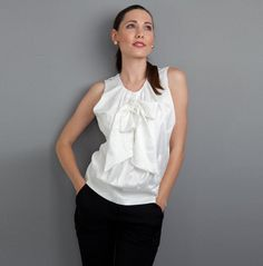 Silky Bow Top    £45.00 http://www.pinstripeandpearls.com/women/work-tops