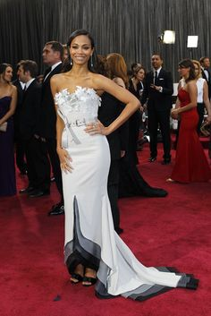 Zoe Saldana in Alexis Mabille and Neil Lane On the Red Carpet at the Oscars