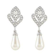 EVER FAITH® Gold-Tone Austrian Crystal Cream Simulated Pearl Flower Bud Clip-on Dangle Earrings Clear N03405-3 J67frDrb