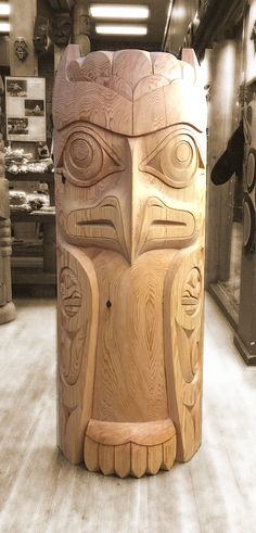 Owl Totem pole carved from red cedar in the housepost style by Coast Salish artist Terry Horne.