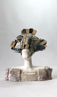 """Bird Man"" Unique Ceramic Sculpture , Ceramic Bust , Clay Sculpture, Fine Art Ceramic , Unique Ceramic Art , Art Object , Pottery,"