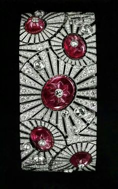 Cartier art deco ruby and diamond bracelet