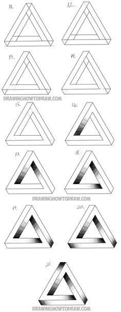 Learn How to Draw an Impossible Triangle - Simple Steps Drawing - triangular graph paper