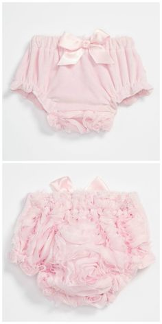 Pretty pink bloomers. Love the cute chiffon rosettes on the back.