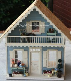 Miniature 1 12 One Inch Dollhouse Farm Summer Garden Cottage Miniature Houses, Miniature Dolls, Mini Houses, Upstairs Loft, Fairy Houses, Doll Houses, Cabins And Cottages, Log Cabins, Tiny World