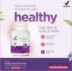 Vestige Hair Skin & Nail Capsules is a unique formulation that helps in - Reducing hair loss, Redu. Toenail Fungus Vinegar, Borage Oil, Ads Creative, Hair Skin Nails, Green Tea Extract, Start Up Business, Amino Acids, Healthy Hair, You Nailed It