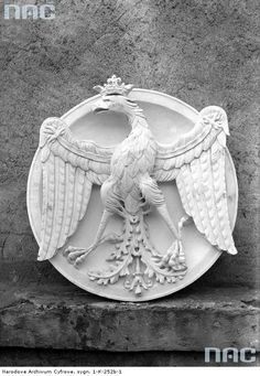Historical coat of arms of Poland. Photograph taken at the Wawel Castle in Kraków, 1926 [via NAC].