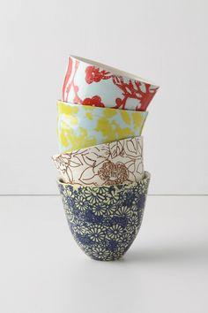 Beautiful bright morning tea cups