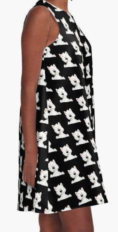 Beautiful westie pattern black Woman's dress casual.   Kleid| la robe | el vestido| vestito | vestir Fashion 2020, Women's Fashion, West Highland White, White Terrier, Westies, Casual, Fabric, Pattern, Shirts