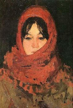 The Red Scarf - Ion Andreescu, Romainian, 1850 - 1882 - Barbizon School Keys Art, Portraits, Portrait Paintings, Art Database, Oil Painting Reproductions, Impressionism Art, Heart Art, Art World, Female Art