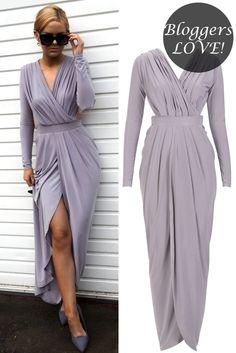 Celebrity Inspired Slinky Gathered Goddess Maxi Dress