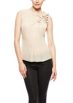 Byron Lars Sleeveless Asymmetrical Rushing Silk Blouse