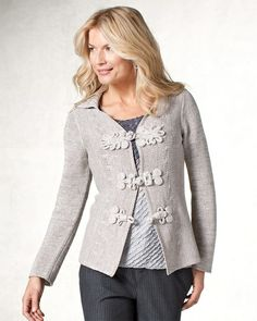 Shimmer cardigan/ Love the frog closures but it appears that it is a bit too small for her.