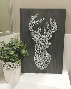String Art On Wood Deer Silhouette 1 by MrsWilsonsArtCart on Etsy