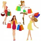 Buy Shopping Girls by macrovector on GraphicRiver. Shopping girl young sexy female figures with sale fashion bags isolated vector illustration. Shopping Apps India, Girls Shopping, Online Shopping, Fashion Bags, Girl Fashion, Fashion Design, Fashion Trends, Fashion Accessories, Rc Boot