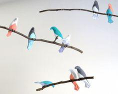 Mobili multicolor ~ Bird mobile tiered bird mobile multicolor fabric birds on