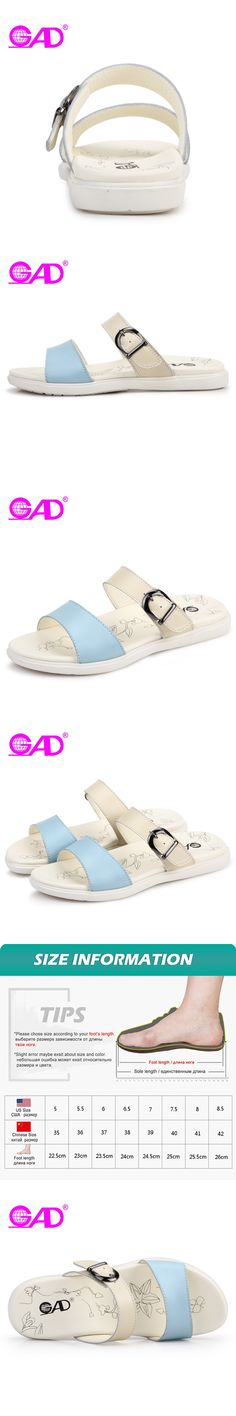 GAD Women Summer Slippers Fashion Design Metal Buckle Open Toe Breathable Women Beach Slides Simple Wild Casual Flat Shoes Women