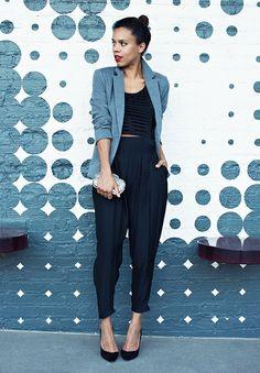 Harem pants, crop top, and blazer in cool-hued tones. // #StreetStyle