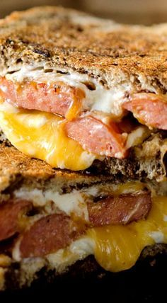 Smoked Sausage Triple Grilled Cheese is a sandwich with sausage and gouda, cheddar and cream cheese layered between marble rye bread for a rich grilled cheese Sausage Sandwich Recipes, Sausage Sandwiches, Grilled Cheese Recipes, Wrap Sandwiches, Steak Sandwiches, Grilled Cheeses, Burger Recipes, Grilled Sandwich Ideas, Pork Recipes