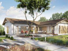 DOM.PL™ - Projekt domu SD Ponza CE - DOM SD2-01 - gotowy koszt budowy Bungalow Floor Plans, Modern Villa Design, Loft House, Modern Loft, House Blueprints, Small House Plans, Pergola, Exterior, Outdoor Structures