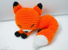kawaii white sleepy fox amigurumi plush doll toy by adorablykawaii. $35.00 USD, via Etsy.