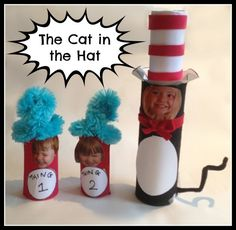 The Cat in the Hat craft - paper tube, paper and felt scraps, ribbon, pipe cleaner, photo