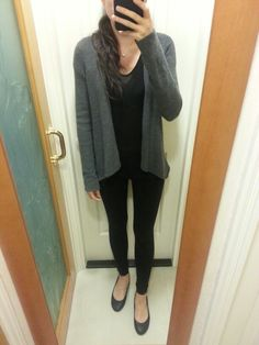 V-neck black top under waterfall cardigan, HnM leggings, pearl necklace, black leather flats.