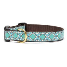 Our Seaglass Collar is the perfect accessory for your stylish pup. Muted shades of seafoam green and chocolate brown highlight the collar's delicate pattern. This sophisticated collar is hand sewn with care, right here in the USA.