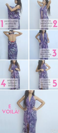 Modo de usar canga - vestido longo Diy Fashion, Ideias Fashion, Fashion Outfits, Womens Fashion, Fashion Design, Sarong Dress, Scarf Tutorial, Beachwear Fashion, Convertible Dress