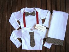 Long Sleeve Bow Tie & Necktie Onesie Set with Burp Cloth - what a cute idea for a baby boy.