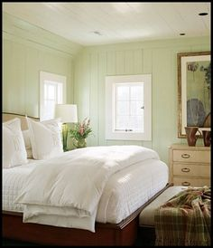 Serenity in mint green and white.