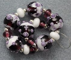 Down cloudy lane... lampwork bead set by Pixie by pixiewillow, $45.00