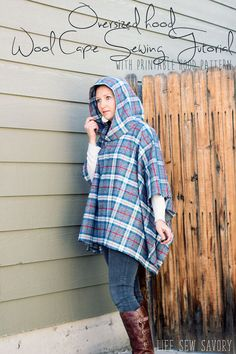 Sewing Fabric Types wool cape sewing tutorial with oversized hood pdf pattern from Life Sew Savory - Diy Poncho, Hooded Poncho Pattern, Poncho Pattern Sewing, Fleece Poncho, Sewing Patterns Free, Free Sewing, Sewing Tutorials, Clothing Patterns, Poncho Patterns