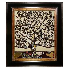 """Hand-painted and framed oil reproduction of Tree of Life by Klimt. Product: Framed reproductionConstruction Material: Artist canvas, oil paint and solid wood frameColor: Black and bronze frameFeatures:Ready to hangCertificate of authenticity includedPerfect fit for home or officeDimensions: 33"""" H x 29"""" W x 2"""" D Note: Hanging hardware includedCleaning and Care: Wipe clean with damp cloth"""