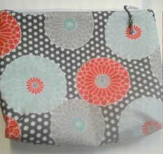 Charcoal and Flowers Pouch, Flower Zipper Pouch, 10.5 w x 7.5h x 2 deep, Make-up Bag, Cosmetic Bag, Travel Bag, Zipper Pouch, Zipper Bag, by PandenteDesigns on Etsy